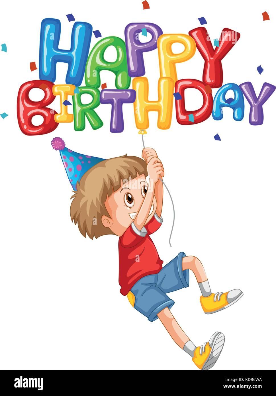 Little Boy Und Happy Birthday Ballon Abbildung