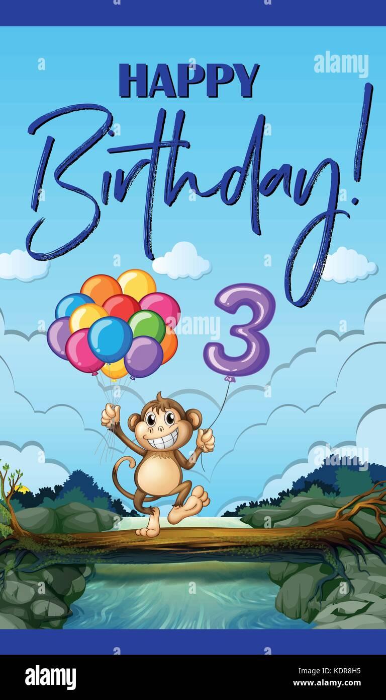 Happy Birthday Card für drei Jahre alte Abbildung Stock Vektor