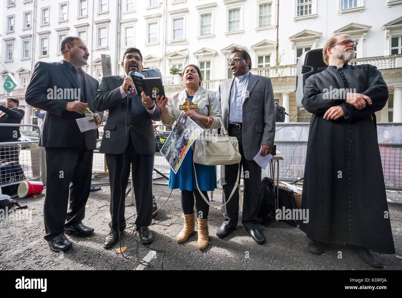 Britische pakistanischen Christen Protest außerhalb der Kommission von Pakistan in London, UK. Stockbild