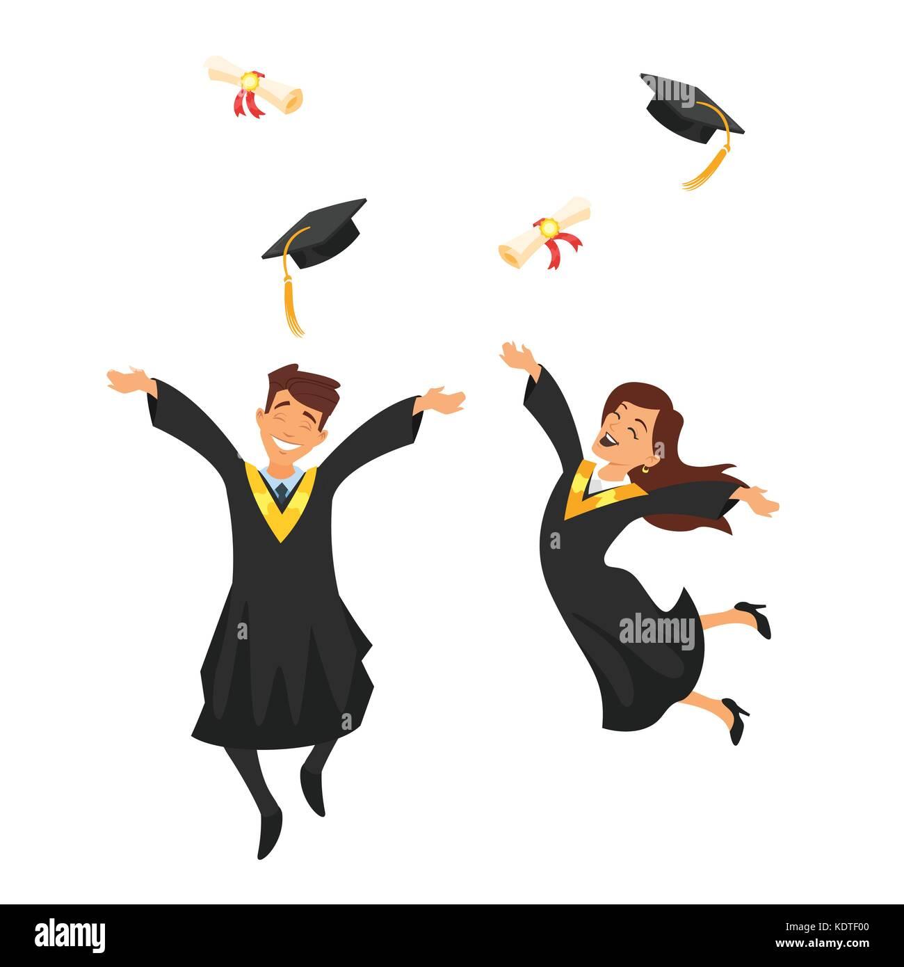 Cartoon School Girl Cap Graduation Stockfotos Cartoon School Girl