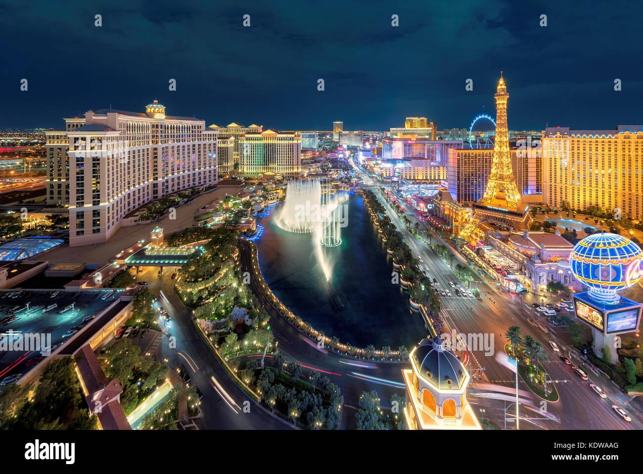 Luftbild des Las Vegas Strip bei Nacht Stockbild
