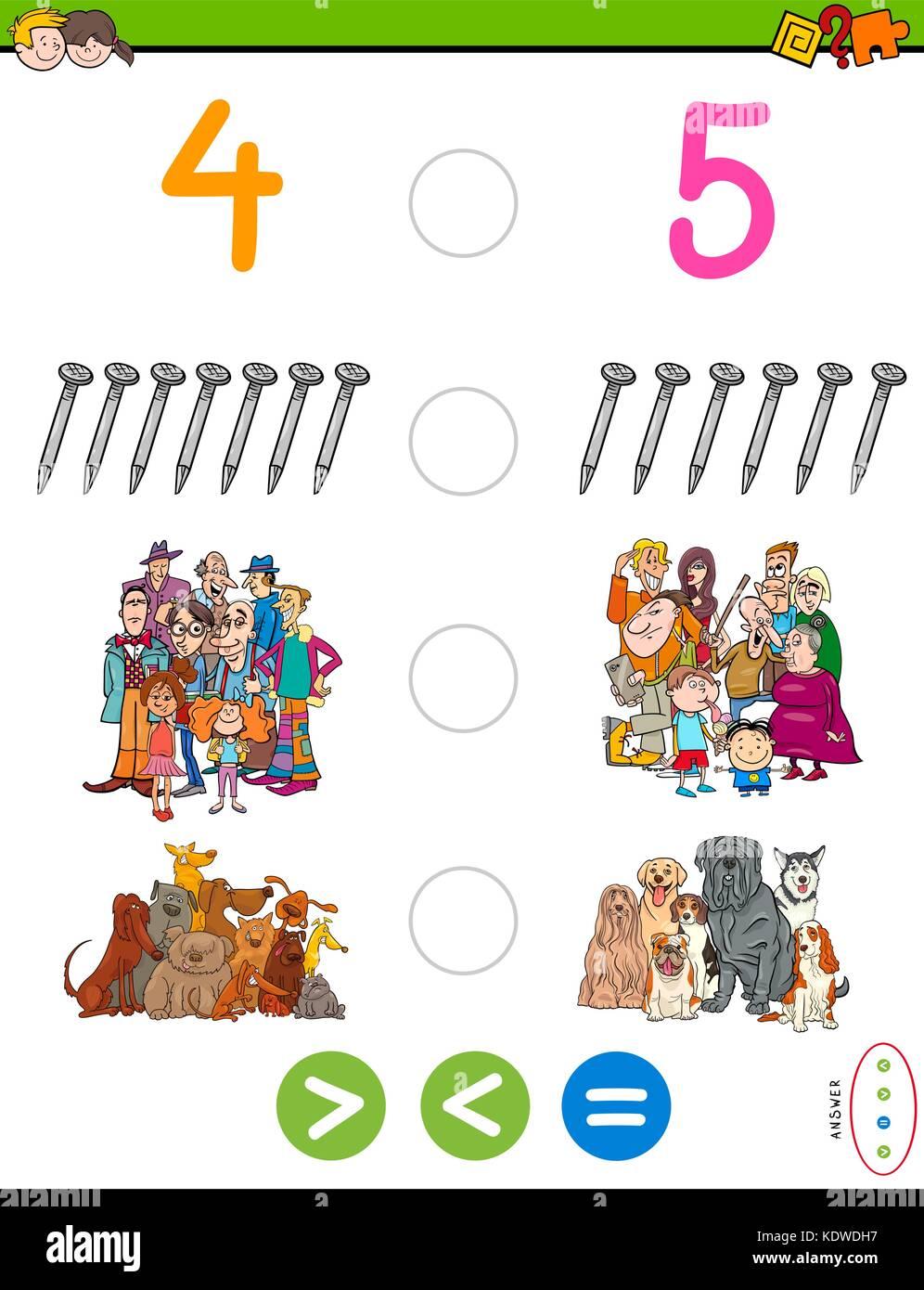 Cartoon Illustration der pädagogischen mathematischen Spiel von mehr ...