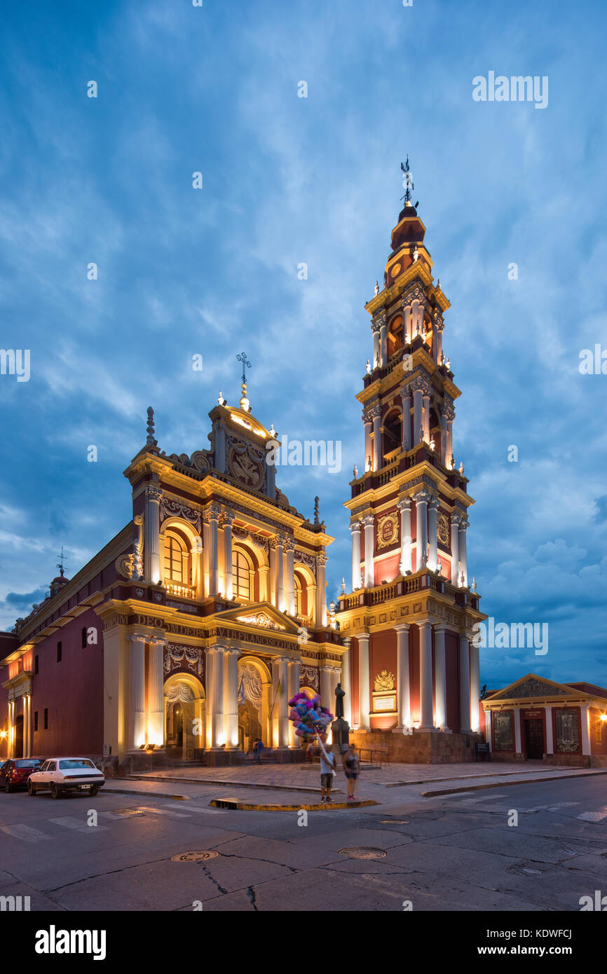 Iglesia San Francisco De Asis in der Dämmerung, Salta, Argentinien Stockbild