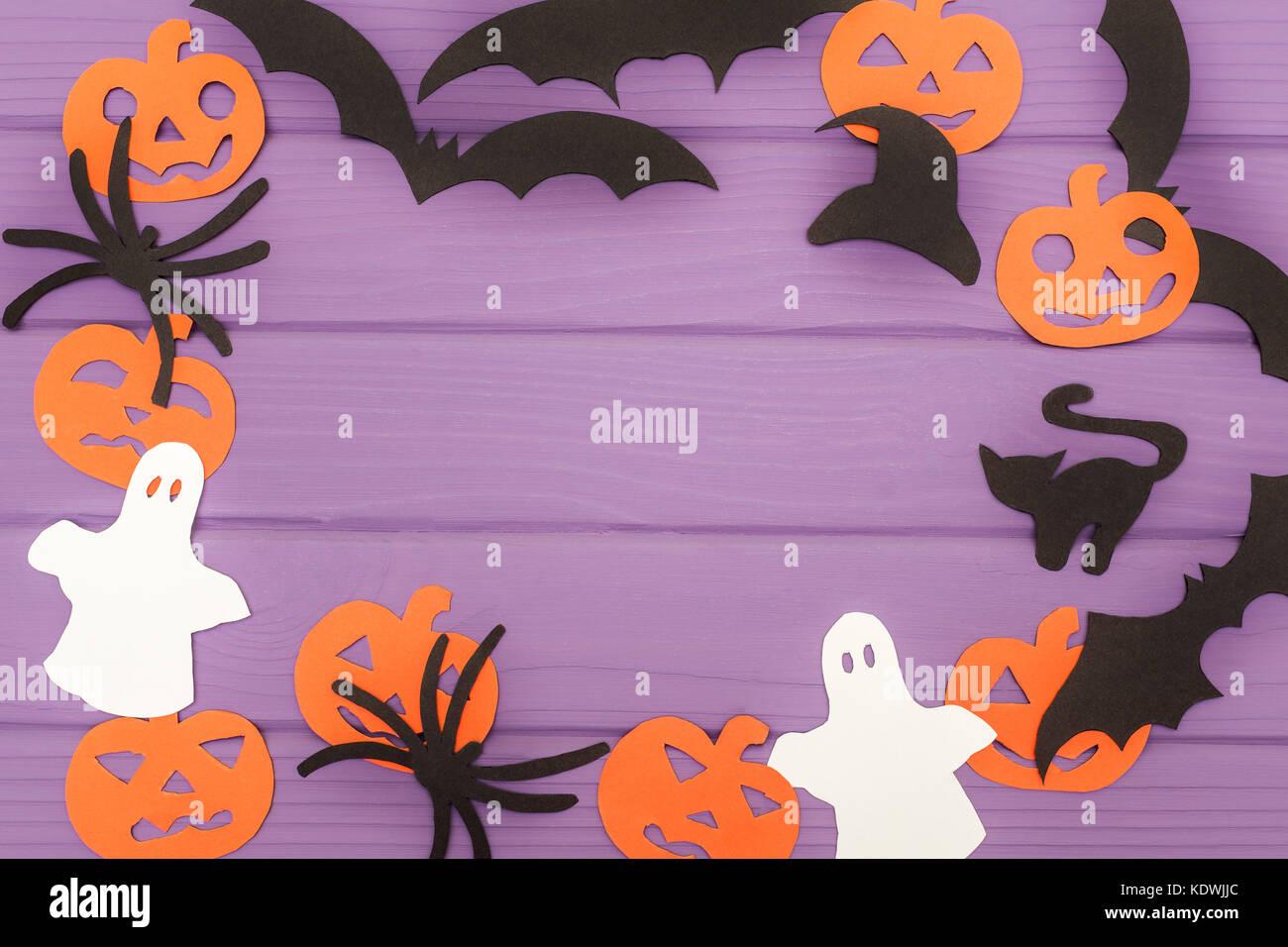 Halloween Silhouetten Geschnitten Aus Papier Von Runden Rahmen Mit