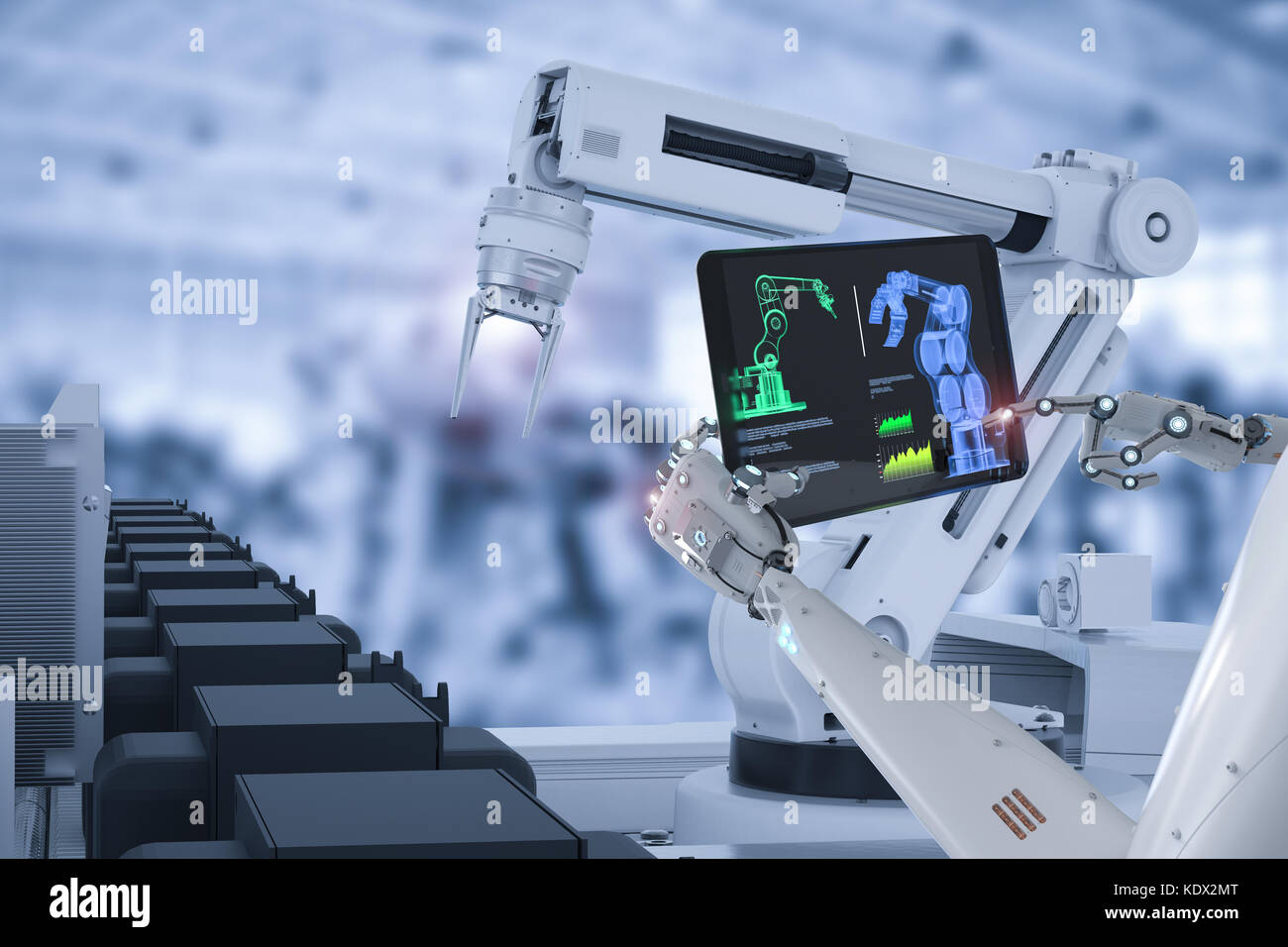 3D-Rendering cyborg Steuerung Roboter in der autofabrik Stockbild