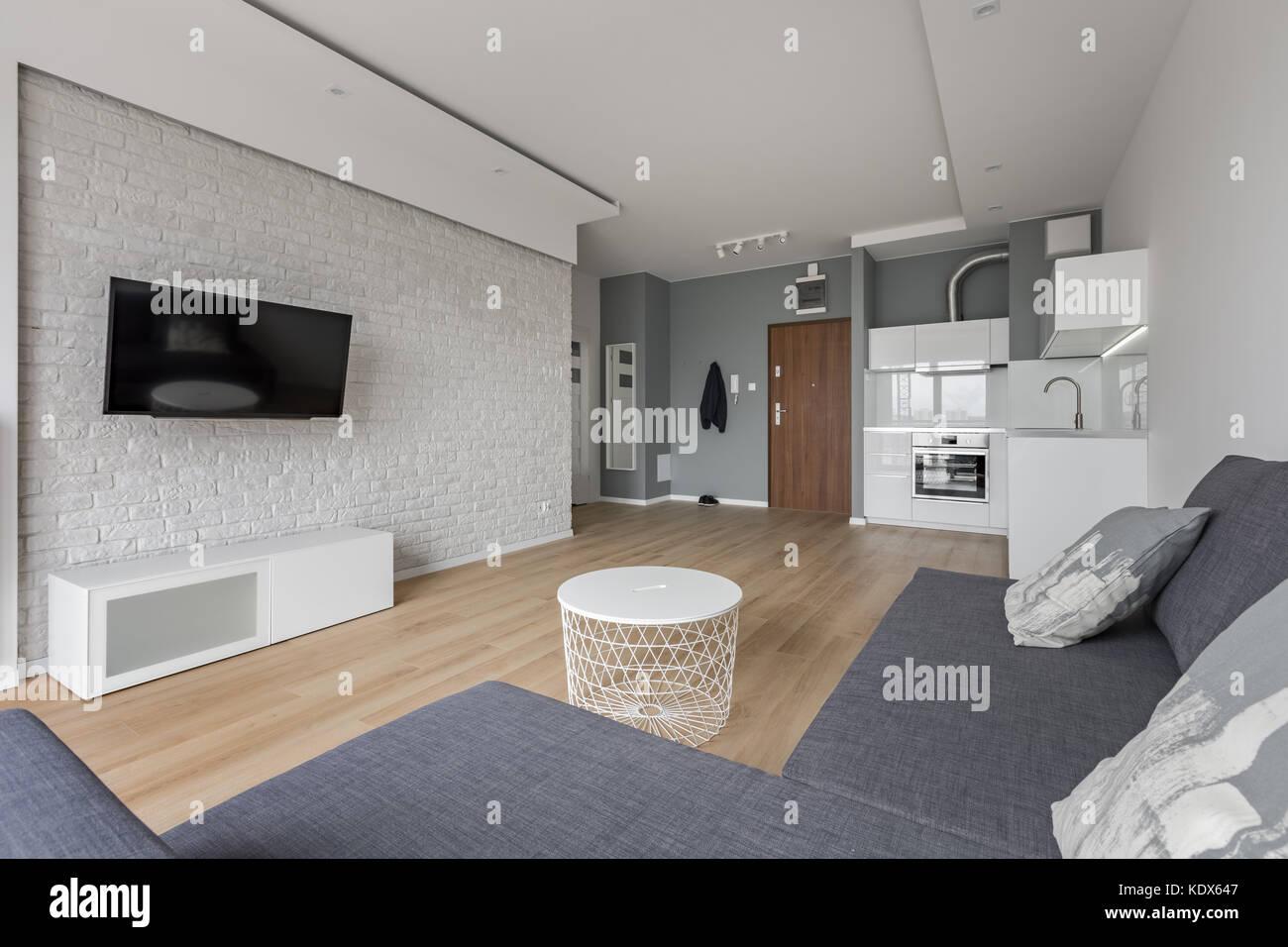 Modernes Studio mit TV, Sofa und kleine, offene Küche Stockfoto ...