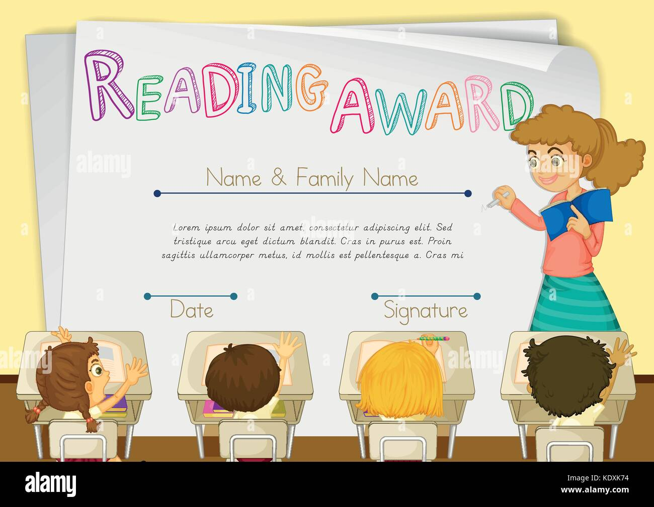 Template School Diploma Children Stockfotos & Template School ...