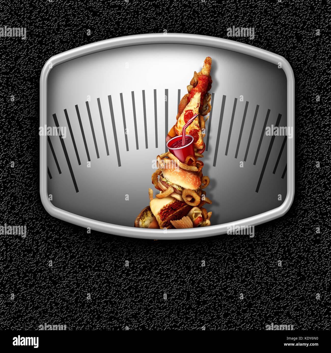 Junk food Waage als ungesunde Snacks wie eine Messanzeige Nadel als Fettleibigkeit Bedienkonzept mit 3D-Render Elemente Stockfoto