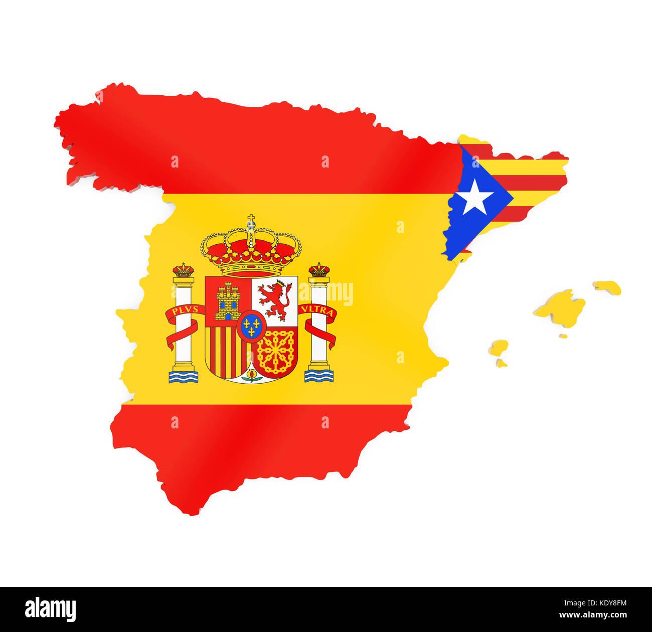 Spanien Katalonien Karte.Spanien Und Katalonien Karte Isoliert Stockfoto Bild