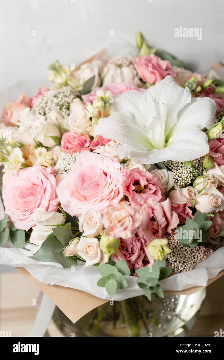 Blume Zusammensetzung Auf Grauem Hintergrund Hochzeit Und Festliche
