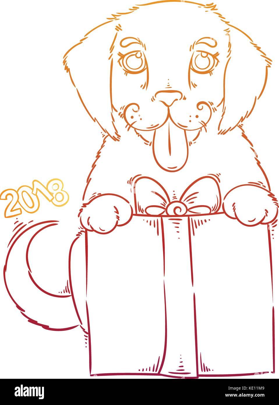 Hand gezeichnet Abbildung mit einem Doodle Hund. 2018 Vektor Symbol ...