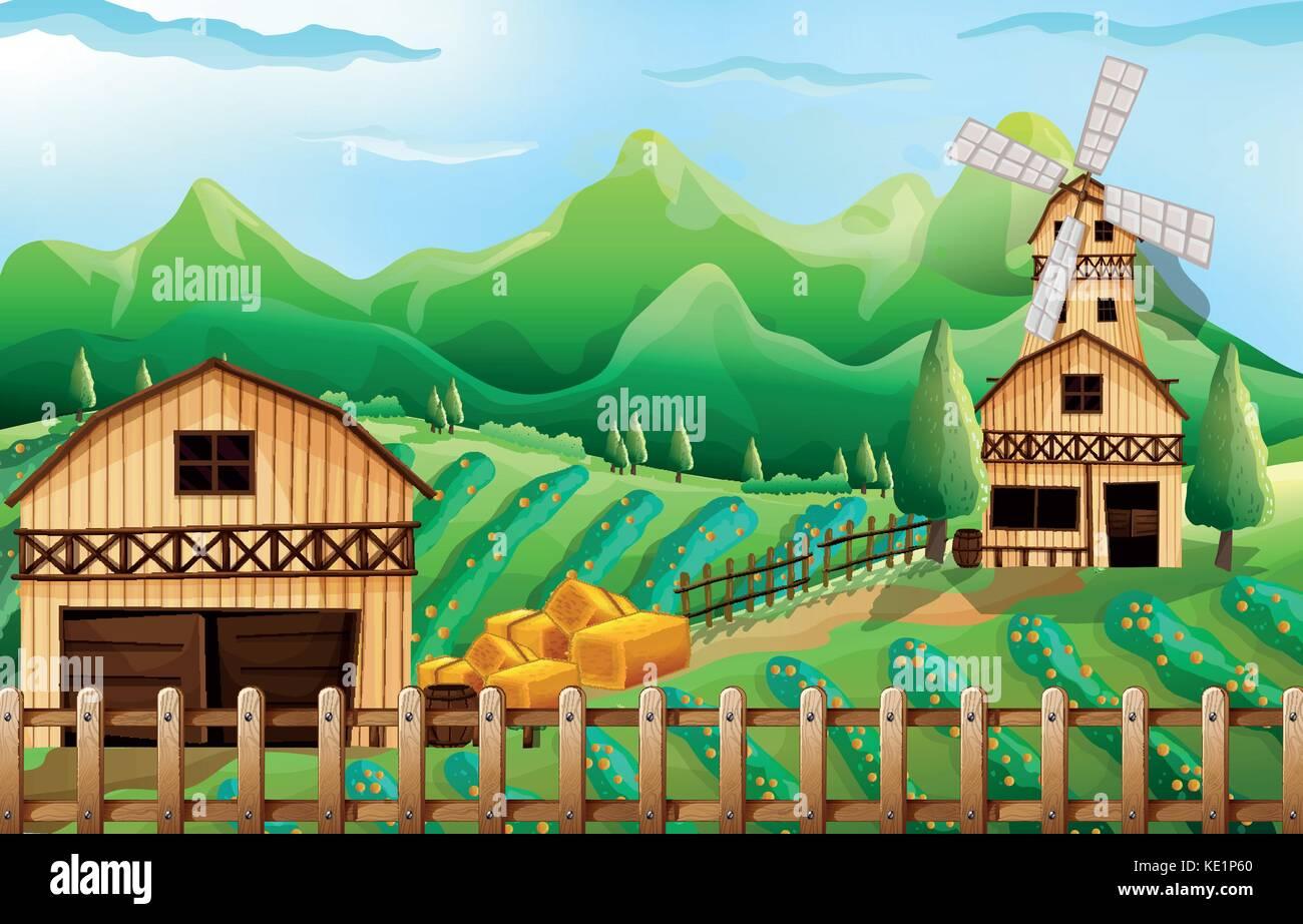 Clipart Illustration Cartoon Windmill Stockfotos & Clipart ...
