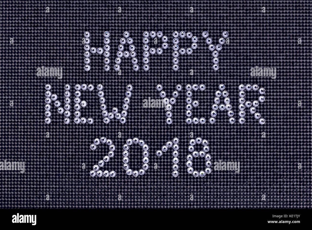Wünsche ein frohes neues Jahr 2018 ist Strass Kristall Farbe auf ...