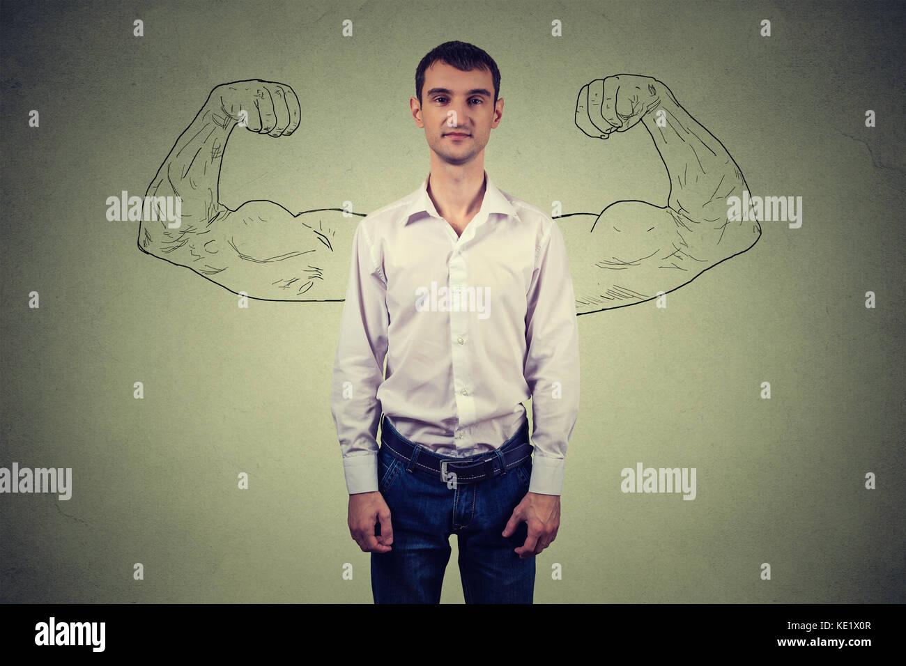 Mächtige mann Realität vs Ehrgeiz Wunschdenken Konzept. menschliches Gesicht ausdrücken, Emotionen Stockbild