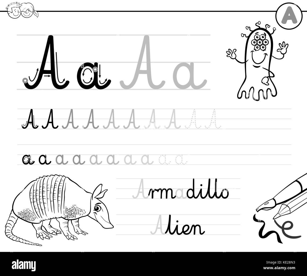 Cartoon Illustration Writing Skills Practice Stockfotos & Cartoon ...