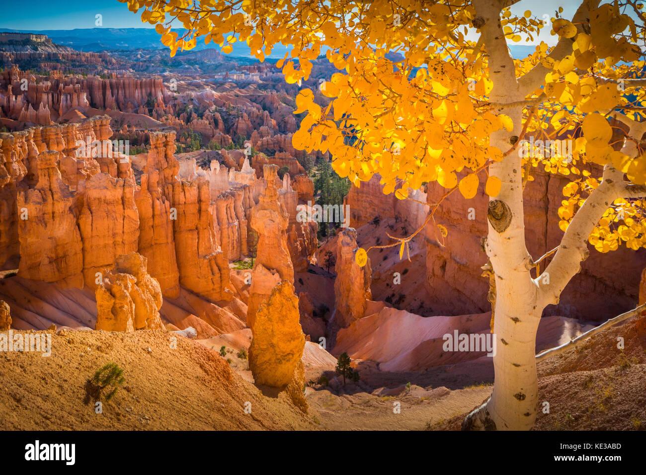 Bryce Canyon National Park, eine weitläufige finden im südlichen Utah, ist für Crimson bekannt - Stockbild