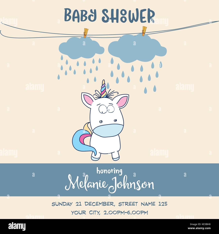 Schönes baby dusche Karte Vorlage mit schönen Baby Einhorn, Vektor ...