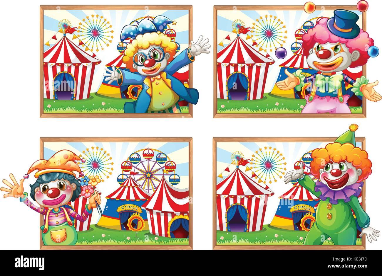 Vier Bilderrahmen von Clowns im Zirkus Abbildung Vektor Abbildung ...