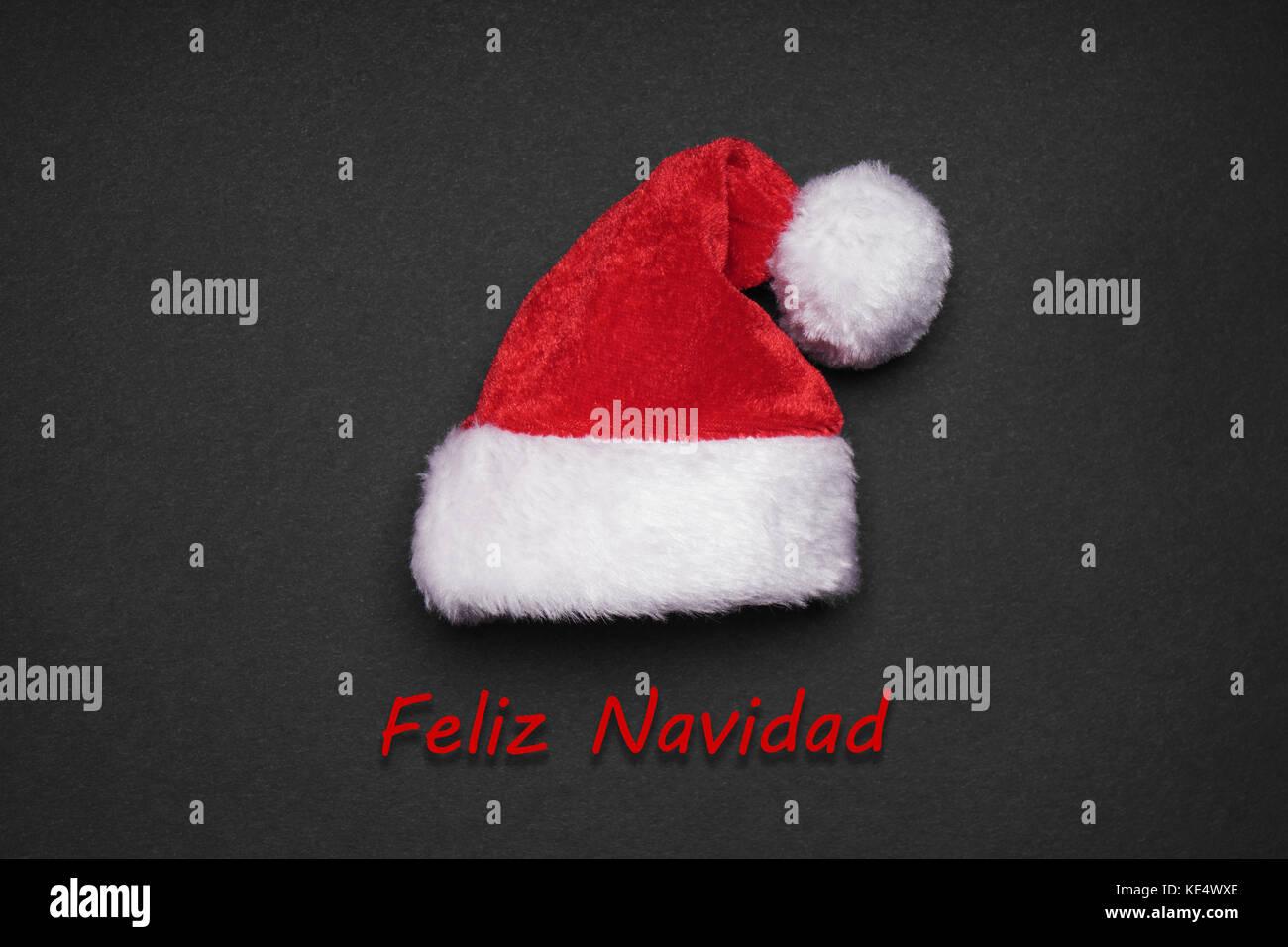 Feliz Navidad spanische Weihnachten Grußkarte Stockbild