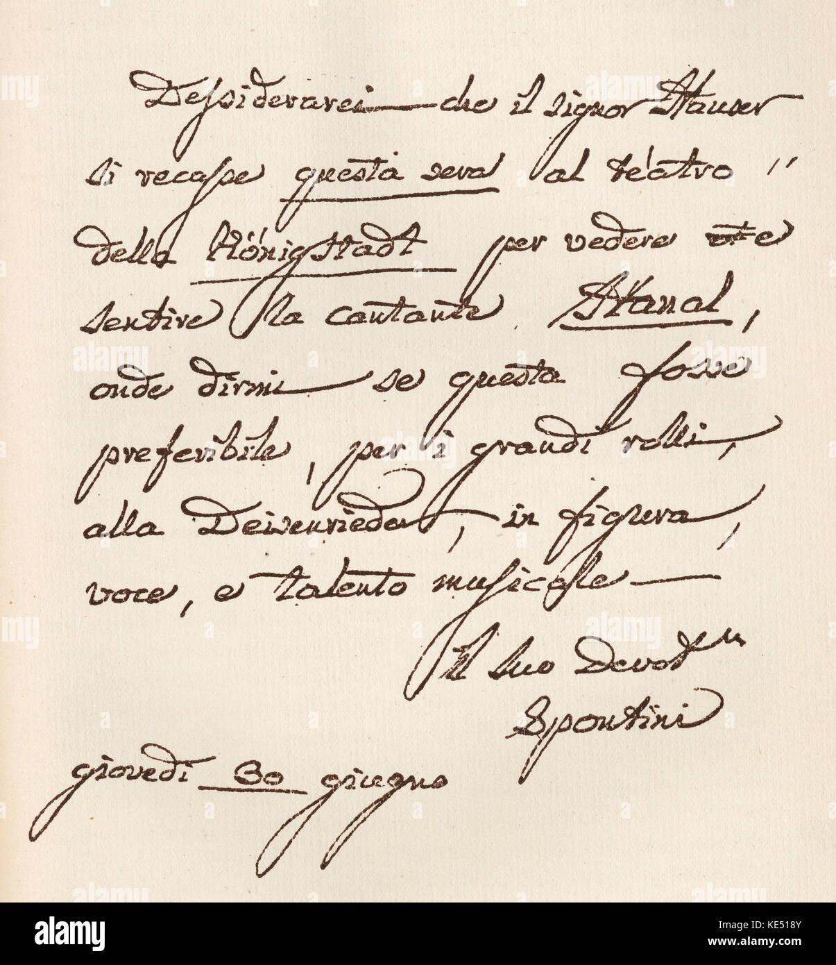 Gaspare Spontini Brief Geschrieben Und Von Der Italienischen Oper