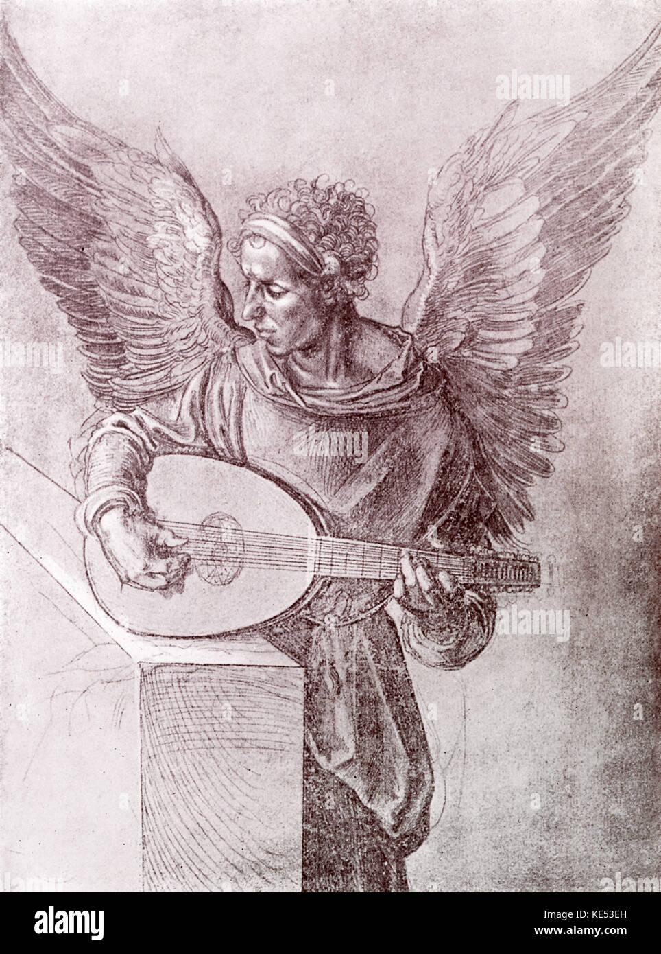 Engel spielen eine Laute, Zeichnung von Albrecht Dürer 1491. ad: der deutsche Maler, Grafiker, 21. Mai 1471 Stockbild