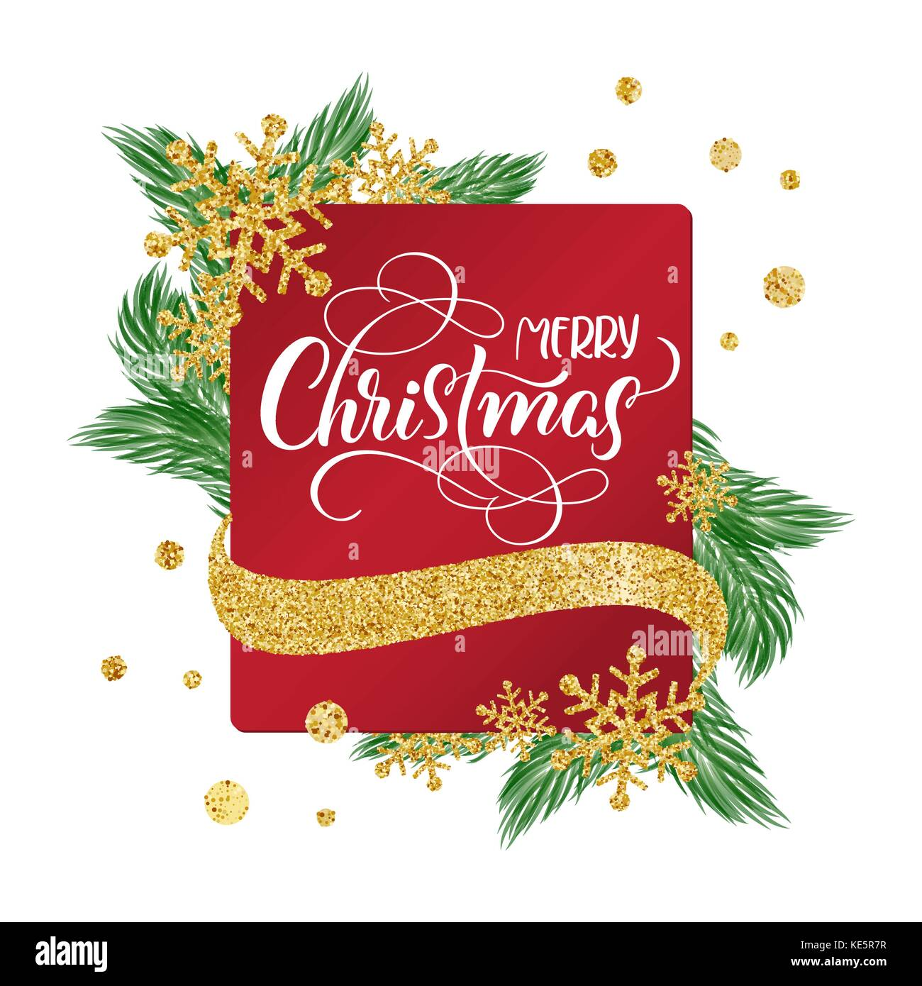 Kalligrafische frohe Weihnachten Schriftzug verziert Text auf rotem ...