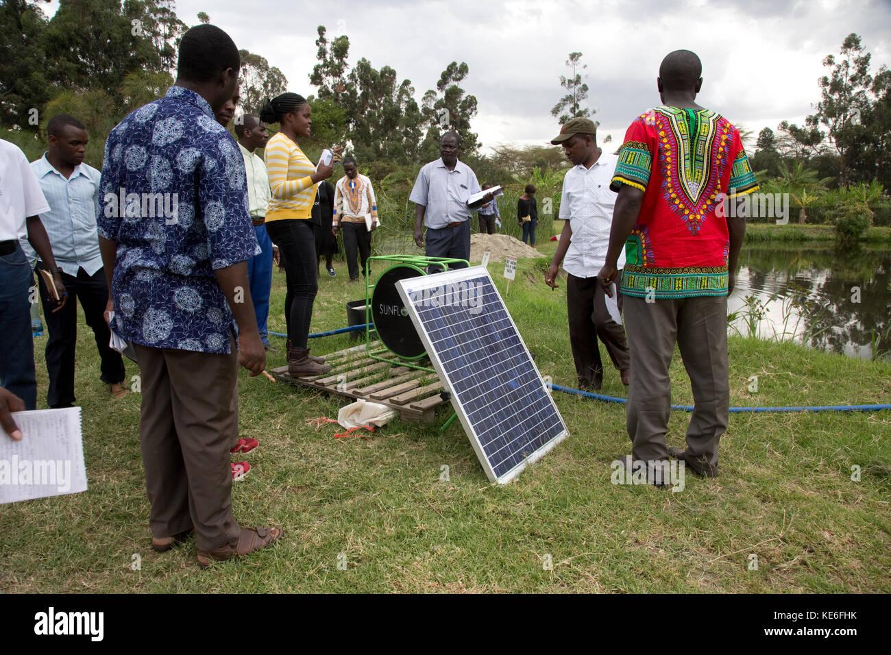 Kursleiter erklärt solar panel angetriebene Pumpe zu afrikanischen Lehrer auf Gartenbau künstlichen Feuchtgebieten Stockbild