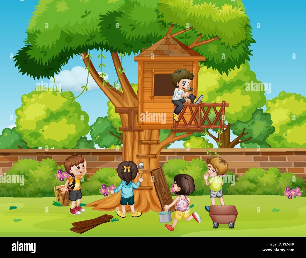 Kinder Bauen Baumhaus Im Park Abbildung Vektor Abbildung Bild