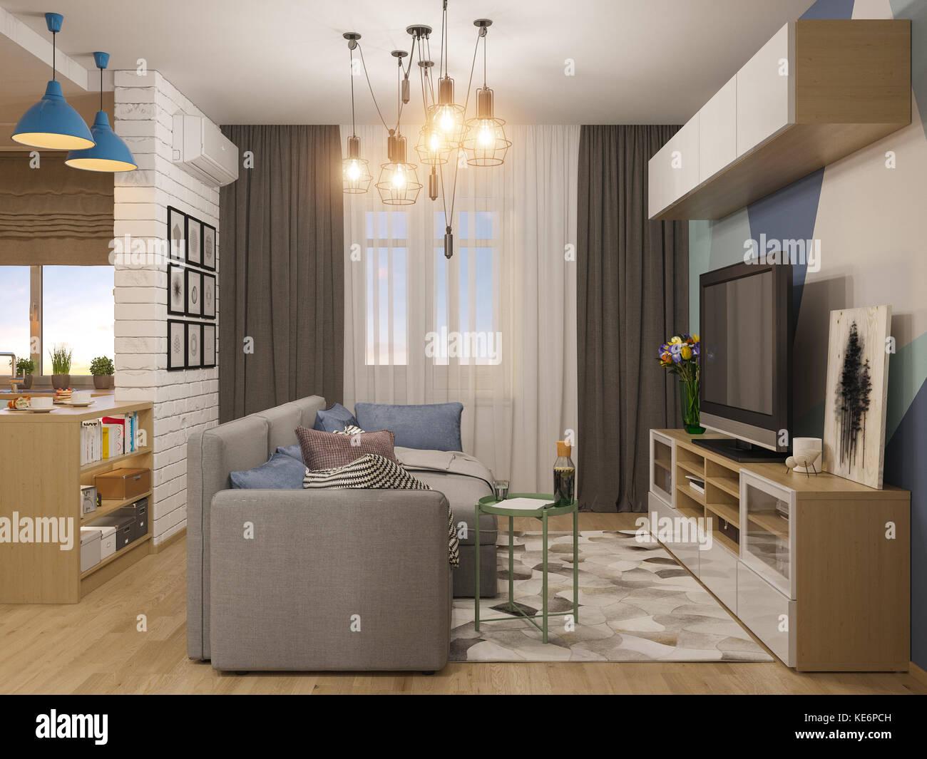 3d-Abbildung: Wohnzimmer und Küche Interieur. Studio ...