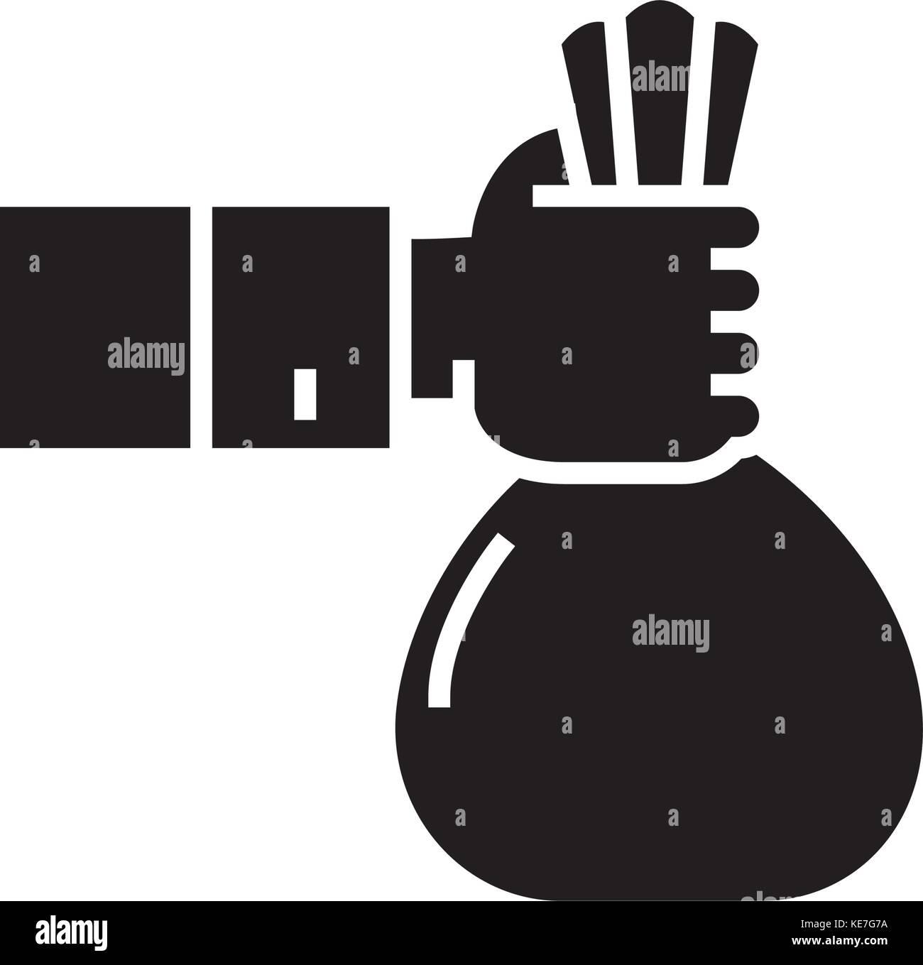 Investition - Sponsor - Finanzierung von Symbol, Vector Illustration, schwarze Zeichen auf isolierten Hintergrund Stockbild