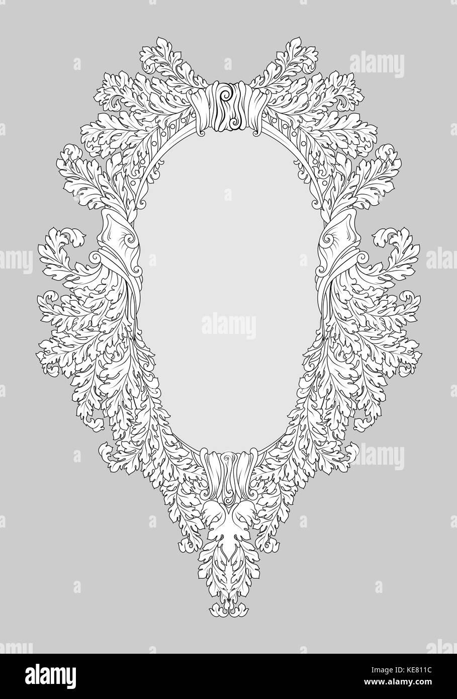 Barock Rokoko spiegel Rahmen Dekor. Vektor französischen Luxus reich ...