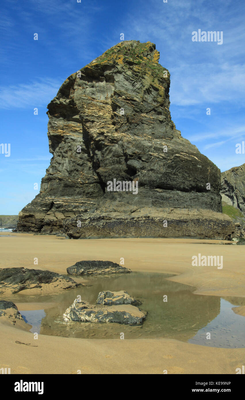 Englisch Coastal scene Bedruthan Steps, Cornwall Stockfoto