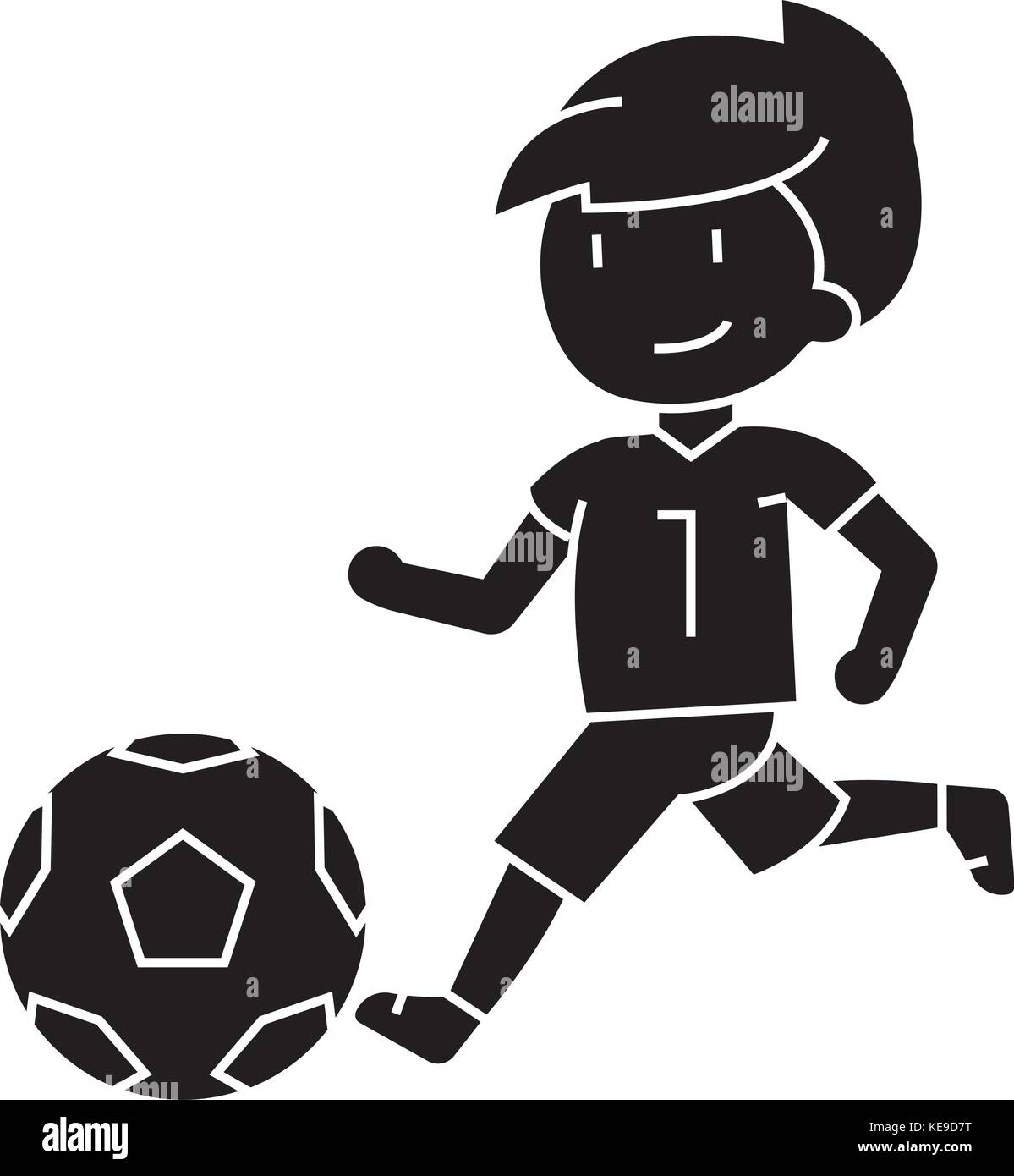 Fussball Jungen Fussball Symbol Spielen Vector Illustration