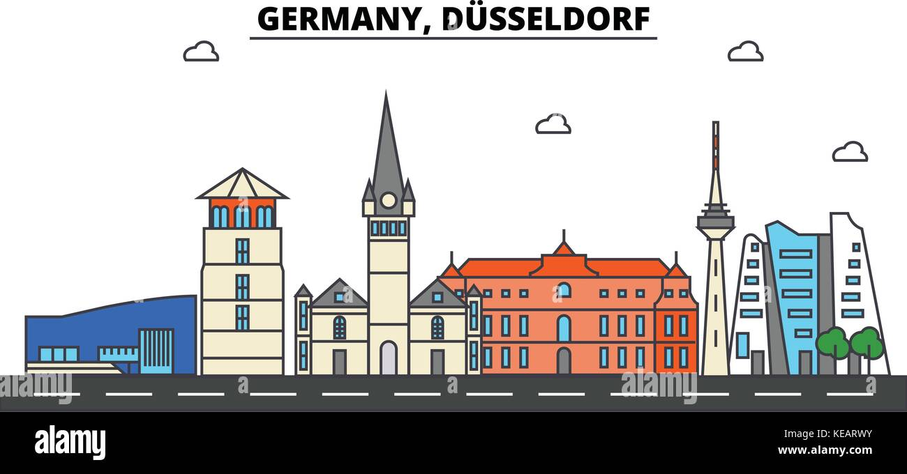 deutschland d sseldorf skyline der stadt architektur geb ude stra en silhouette landschaft. Black Bedroom Furniture Sets. Home Design Ideas