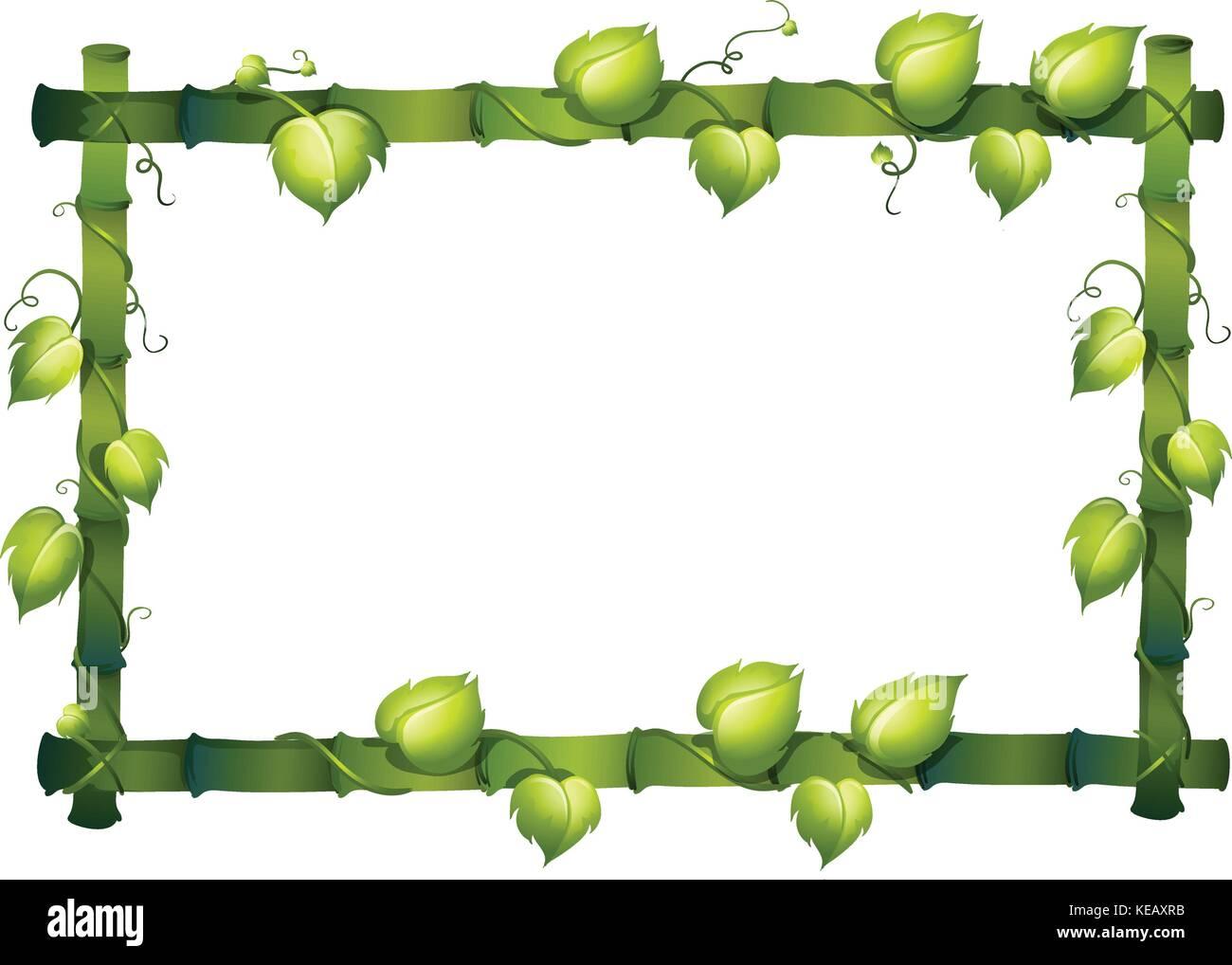 Abbildung: Bambus Rahmen mit Rebe Vektor Abbildung - Bild: 163739055 ...