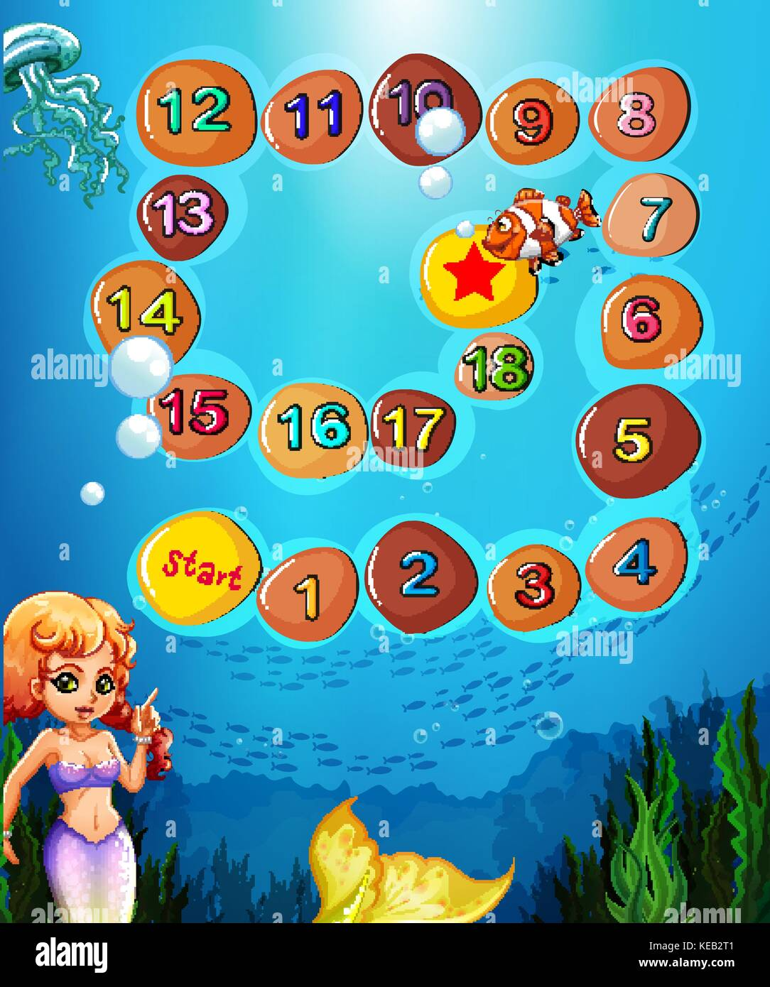 Brettspiel Vorlage mit Unterwasser Szene und Meerjungfrau Vektor ...
