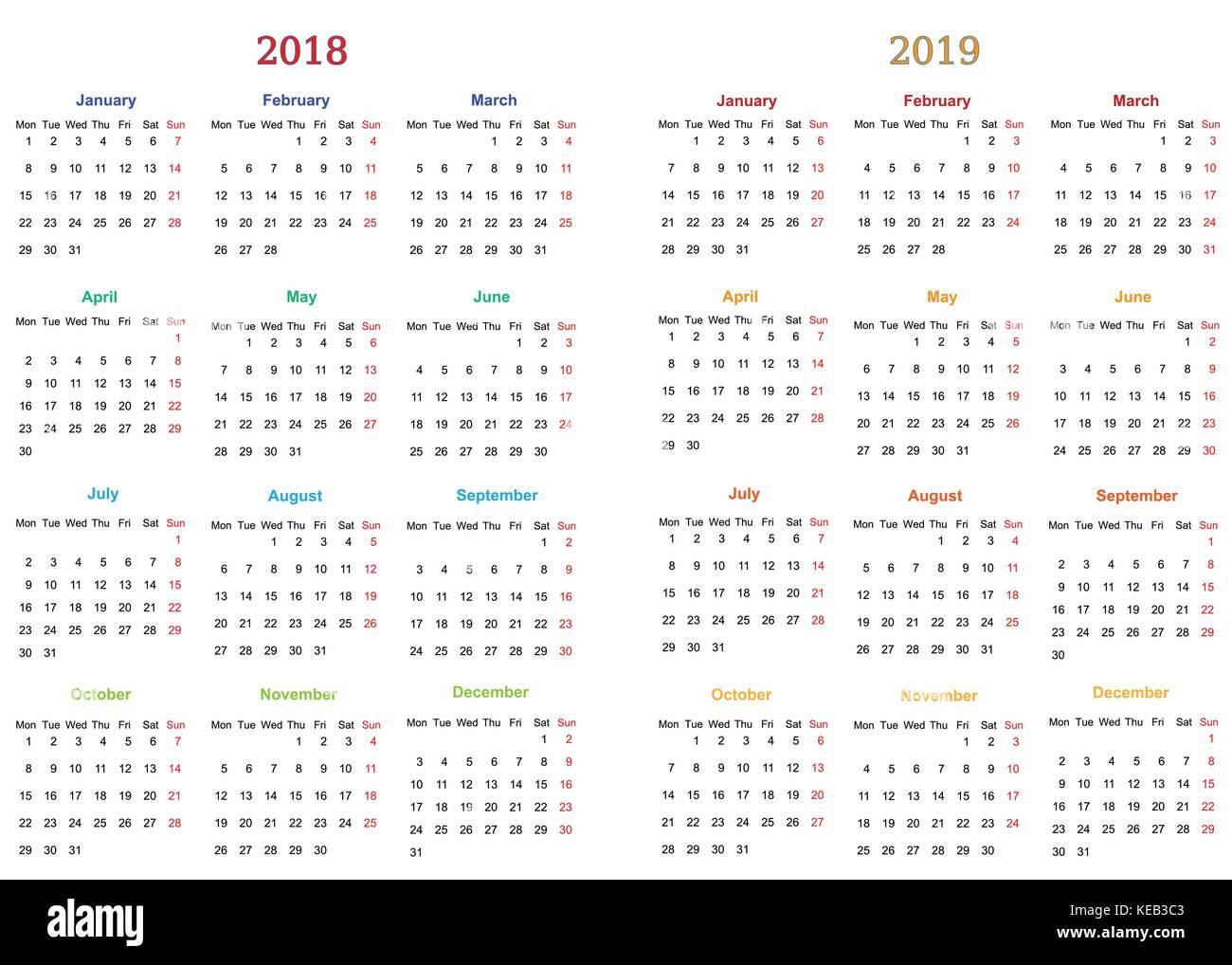 12 Monate Kalender Design 2018 2019 Druckbare Und Bearbeitet Werden