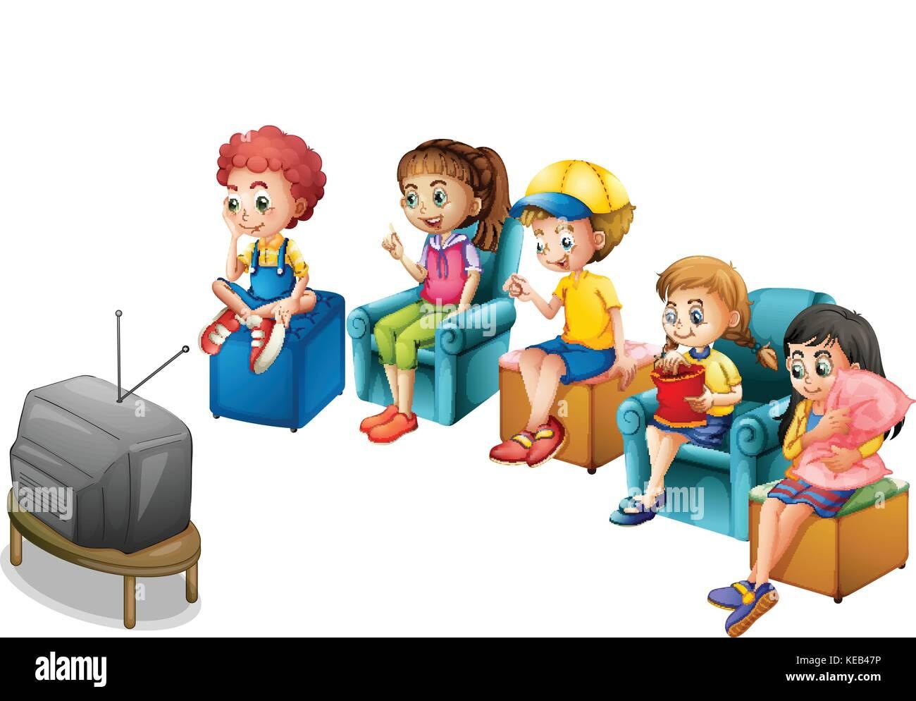Katze Vor Dem Fernseher Bild: Die Jungen Und Mädchen Vor Dem Fernseher Sitzen Auf