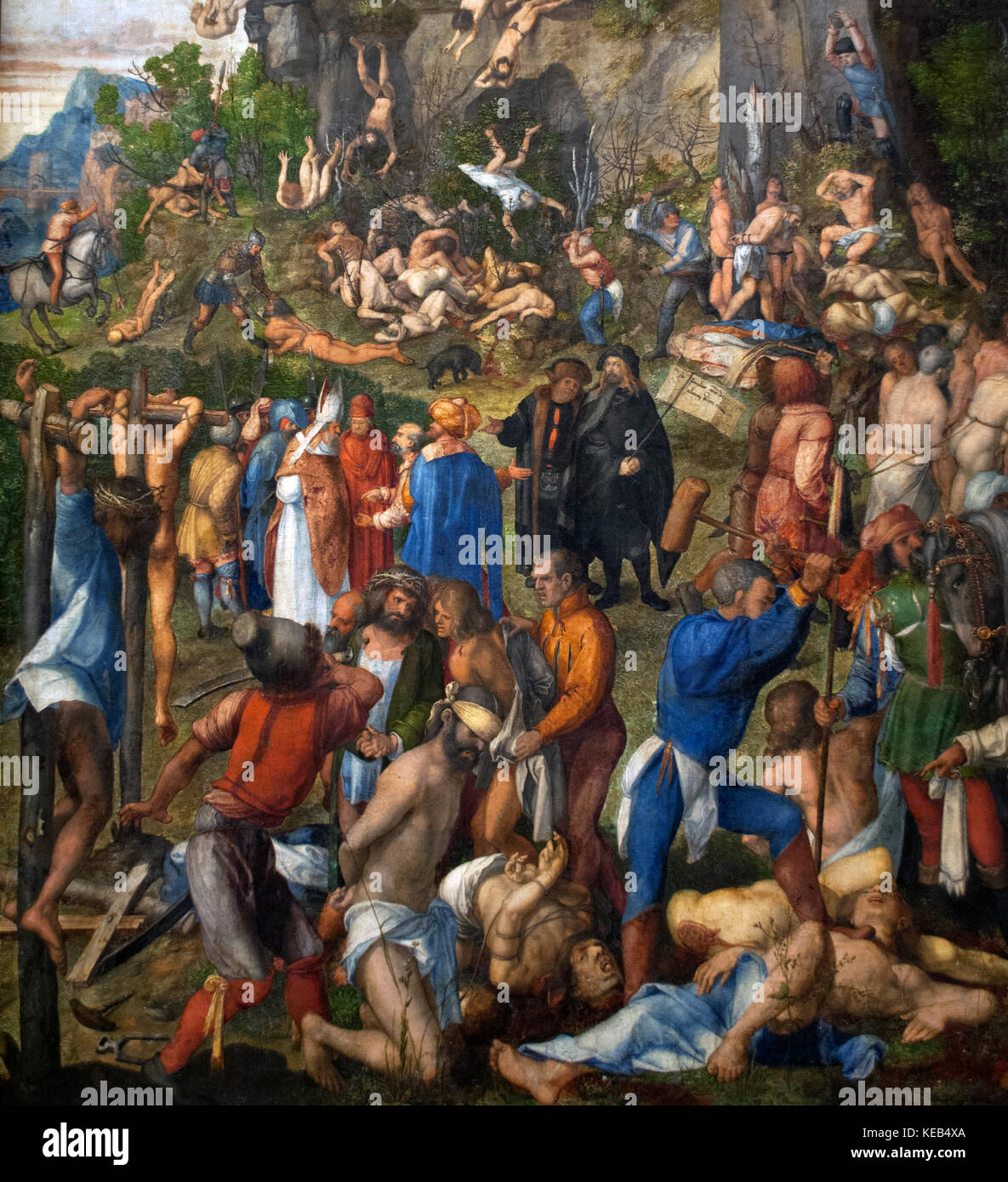 Albrecht Dürer (1471-1528). deutscher Maler der Renaissance. das Martyrium der Zehntausend, 1508. Kunst Geschichte Stockbild