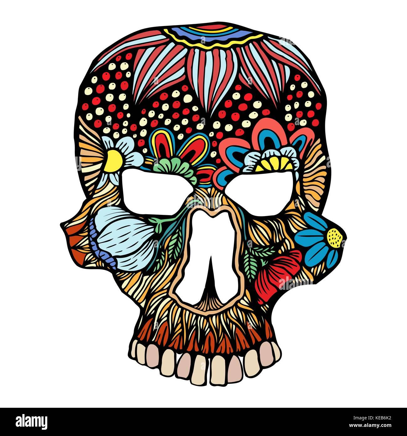 Schädel Blumen Dekoration. Vector Illustration. freehand Skizze für ...