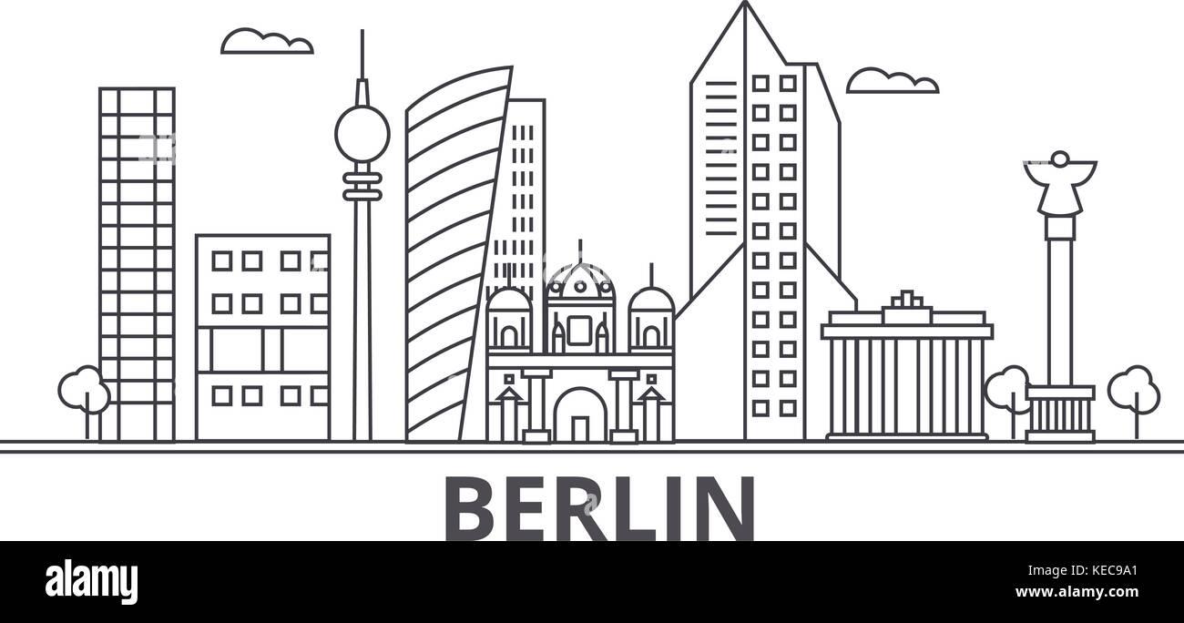 Berliner Architektur Linie Skyline Abbildung Linear Vector