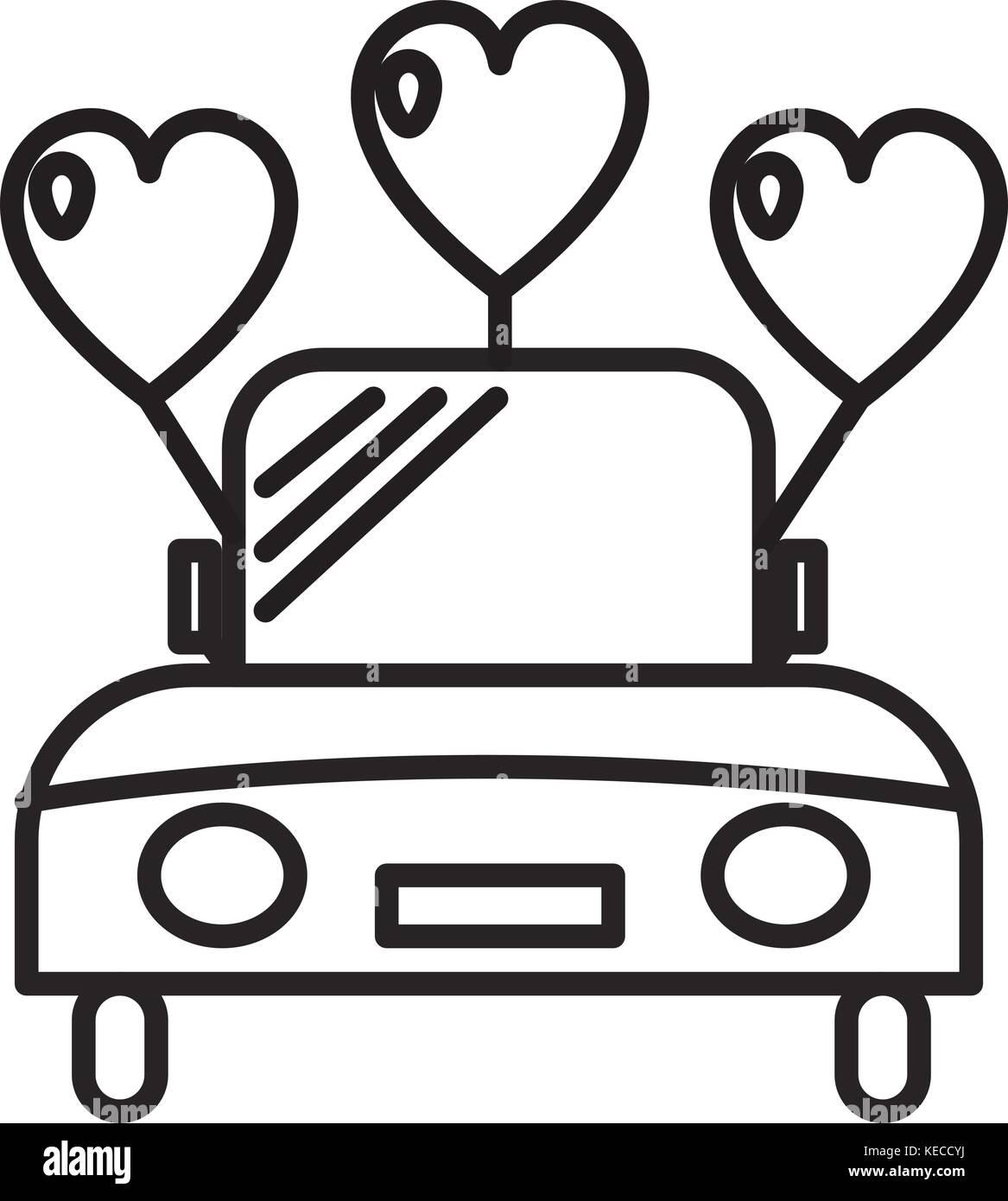 Hochzeit Auto Vektor Symbol Leitung Zeichen Abbildung Auf