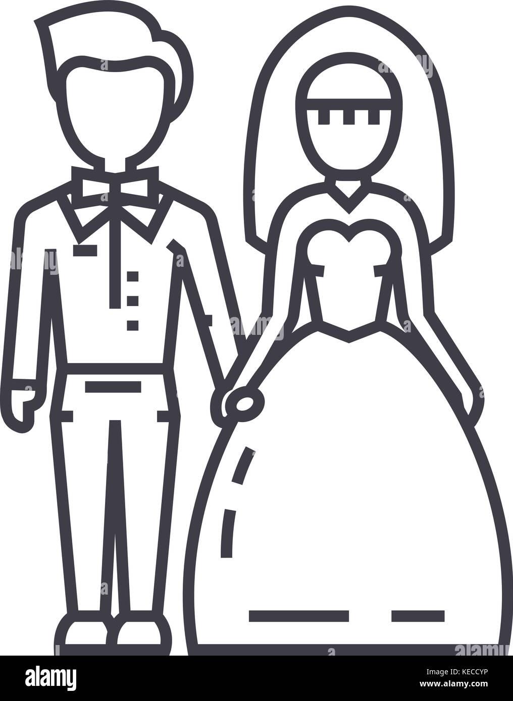 Hochzeit Paar Braut Und Brautigam Vektor Symbol Leitung Zeichen