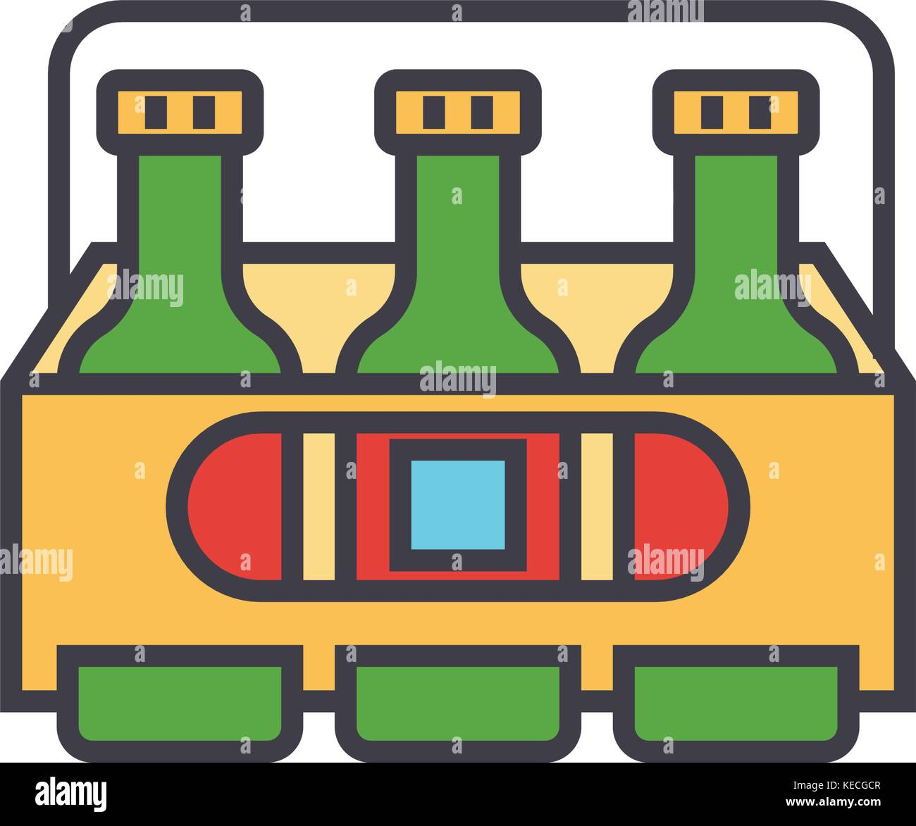 3 Biere flache Linie Illustration, Begriff Vektor isolierte Symbol Stock Vektor