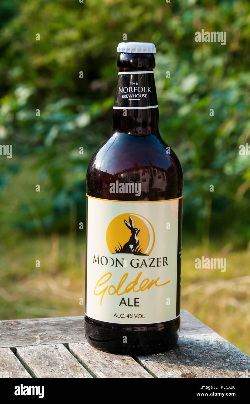 Eine Flasche Mond Gaffer Golden Ale vom Norfolk Sudhaus. Stockbild