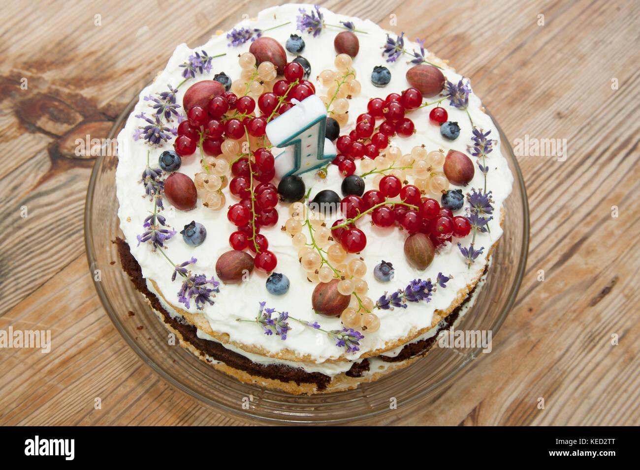 Fruchtig Gesunde Geburtstag Kuchen Mit Einer Zahl Von 1 Kerze Auf