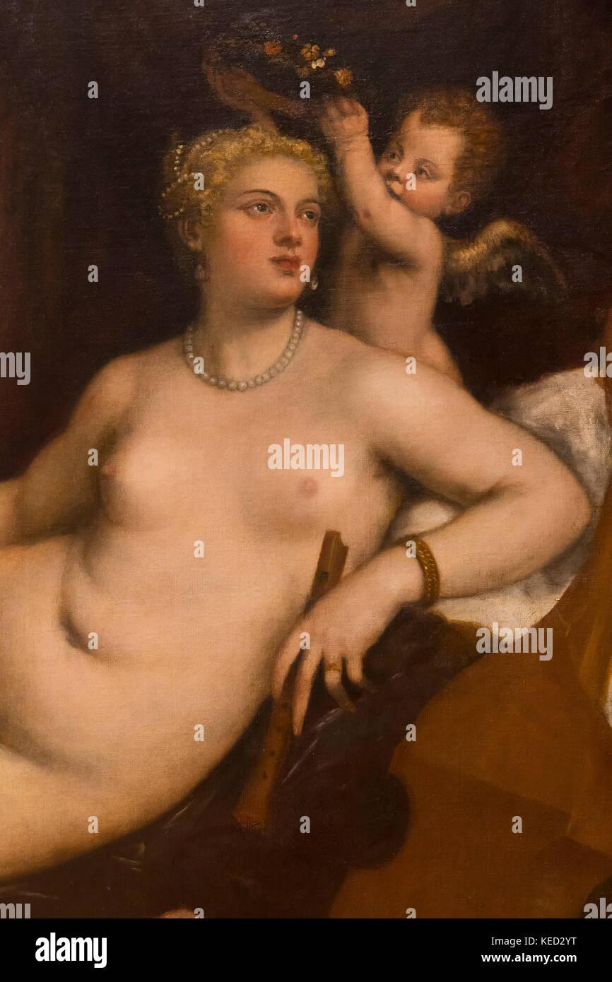 Detail, Venus und Lautenspieler, Tizian und Werkstatt, ca. 1560, Metropolitan Museum der Kunst, Manhattan, New York Stockbild