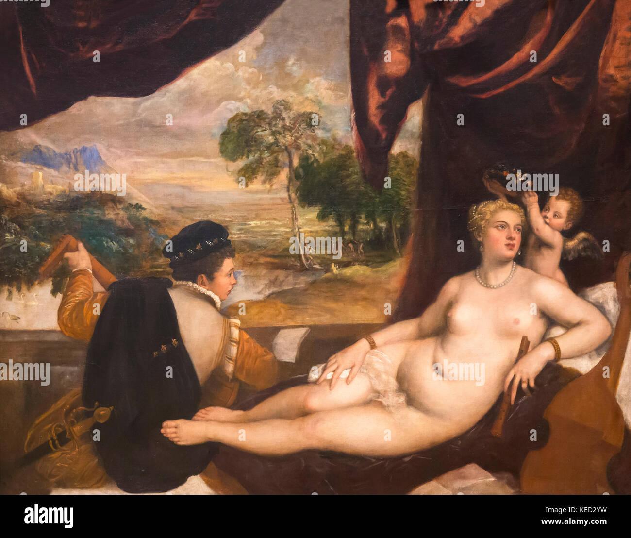 Venus und der lautenspieler, Tizian und Werkstatt, ca. 1560, Metropolitan Museum der Kunst, Manhattan, New York Stockbild