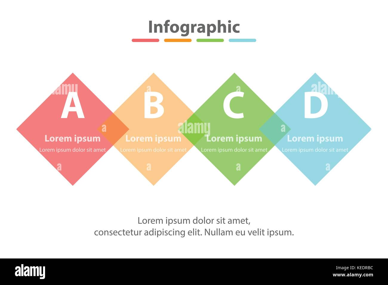 Vier Themen einfache Bunte durchsichtige Square in der Reihenfolge ...