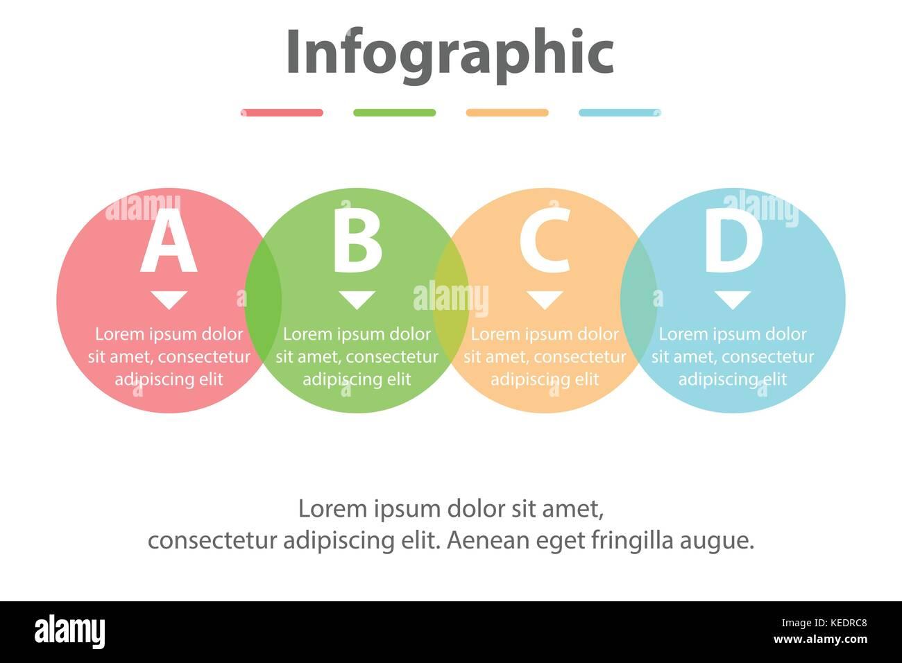 Vier Themen einfache Bunte durchsichtige Kreis in der Reihenfolge ...